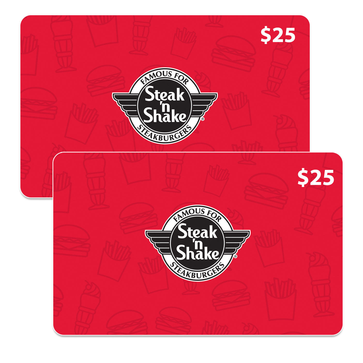 Steak N Shake $50 Value Gift Cards (2 x $25)