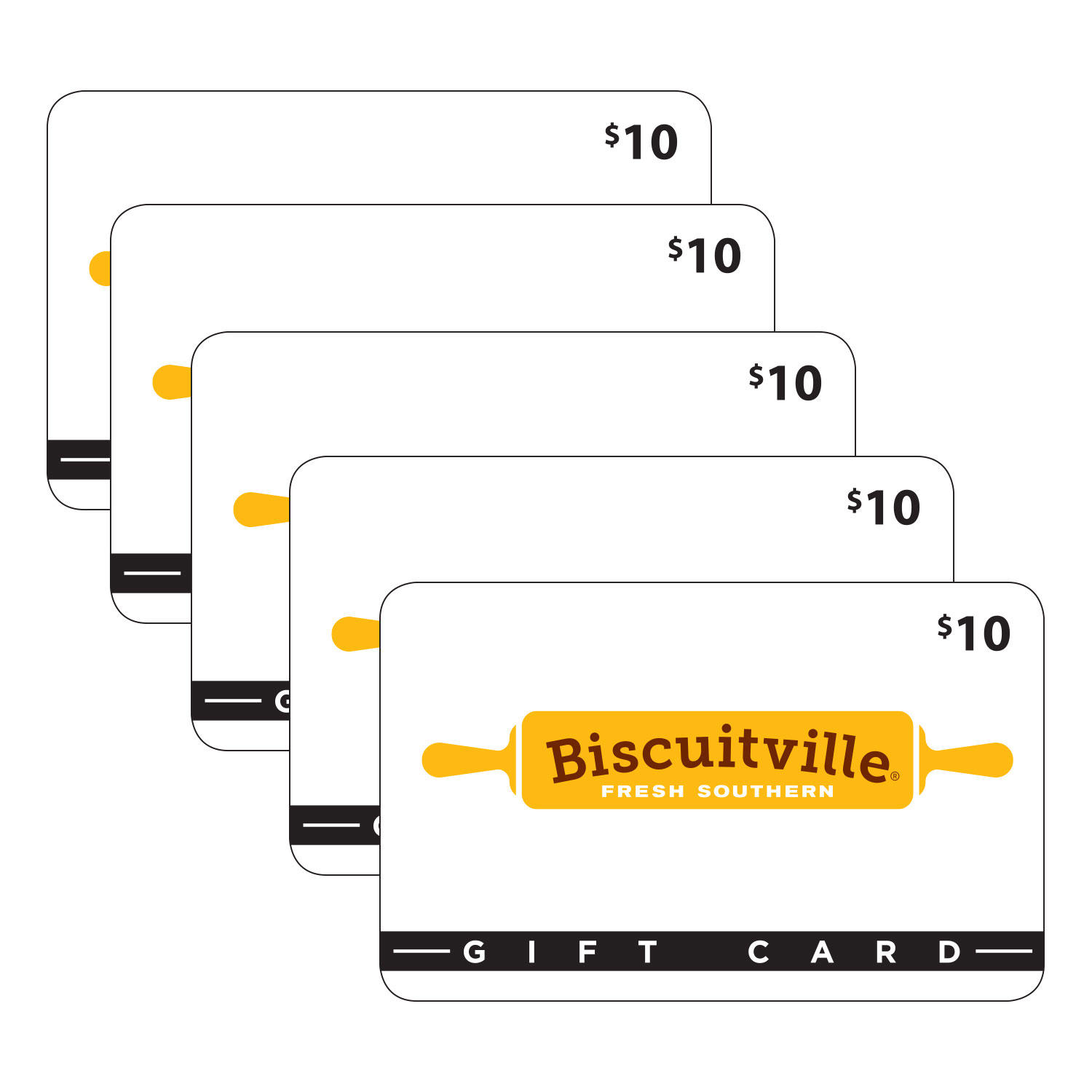 $50 (5 x $10) Biscuitville Gift Cards