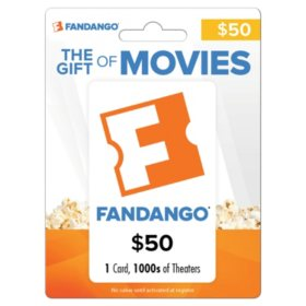 Fandango $50 Value Gift Card
