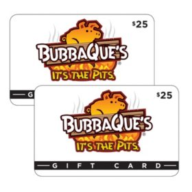 BubbaQue's (FL, LA) $50 Value Gift Cards - 2 x $25