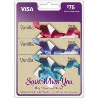 Vanilla Visa Gift Card $75 Value Gift Cards – 3 x $25