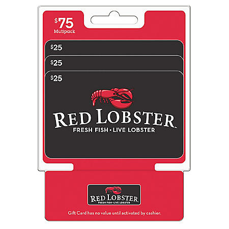 Red Lobster $75 Value Gift Cards - 3 x $25
