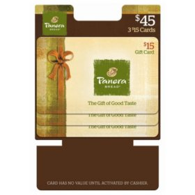 Panera Bread $45 Multi-Pack - 3 x $15 Gift Cards
