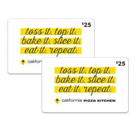 California Pizza Kitchen 50 Value Gift Cards 2 X 25