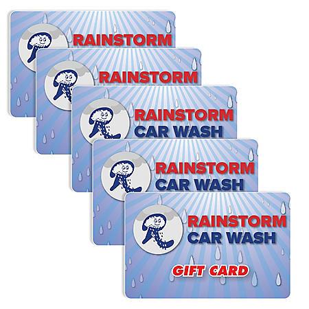 Rainstorm Express Car Wash $50 Value Gift Cards - 5 x $10