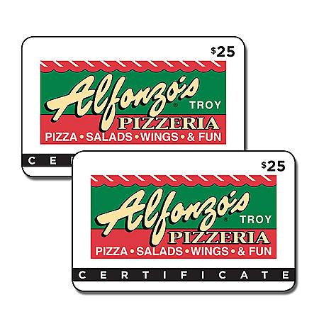 Alfonzo's Pizzeria 2 x $25 for $40