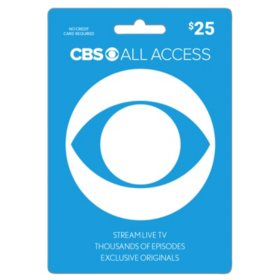 CBS All Access Gift Card - Various Values