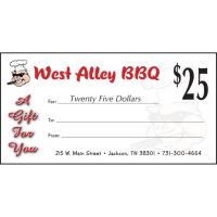 2 x $25 + $10 Bouns West Alley BBQ and Smokehouse Gift Card