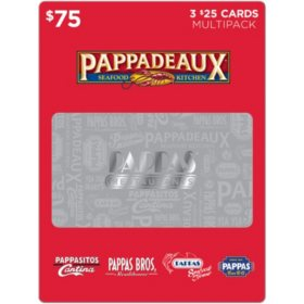 Pappas Restaurants $75 Value Gift Cards - 3 x $25