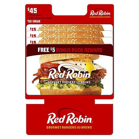 Red Robin Gift Cards - 3 x $15 plus a Bonus $5 Card