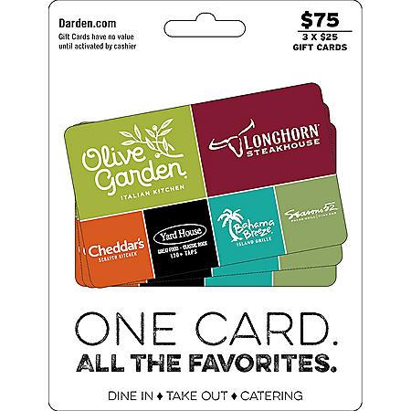 Darden Universal Gift Cards - 3 x $25
