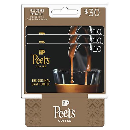 Peet's Coffee & Tea $30 Value Gift Cards - 3 x $10