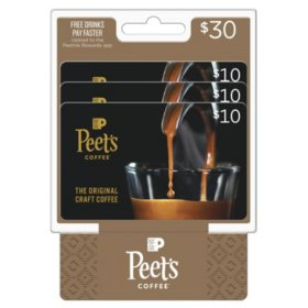 Peet's Coffee & Tea $30 Value Gift Cards - 3 x $10