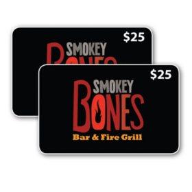 Smokey Bones Bar & Fire Grill $50 Value Gift Cards - 2 x $25