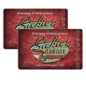 Sickies Garage Burgers and Brews (SD, ND) $50 Value Gift Cards - 2/$25