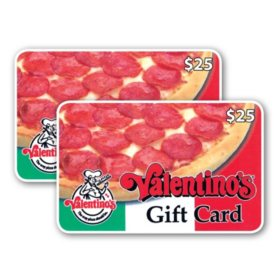 Valentino's $50 Value Gift Cards - 2 X $25