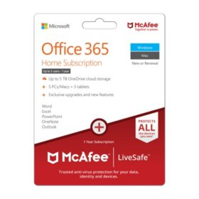 Microsoft Office 365 and McAfee Live Safe Bundle