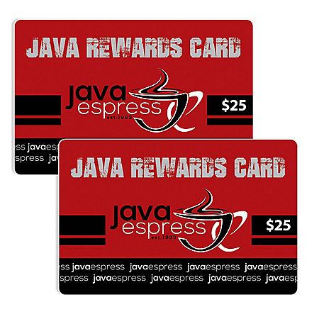 Java Espress (ID) $50 Value Gift Cards - 2/$25