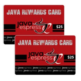 Java Espress (ID) $50 Value Gift Cards - 2/$25
