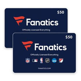 Fanatics $100 Value Gift Cards -  2 x $50