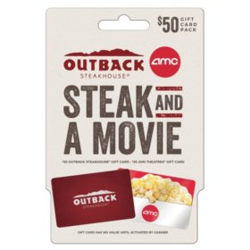 Outback & AMC Dinner and a Movie $50 Value Gift Cards - 2 x $25