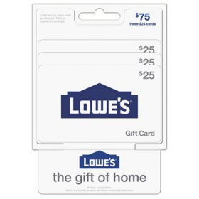 Lowe's $75 Value Gift Cards - 3 x $25