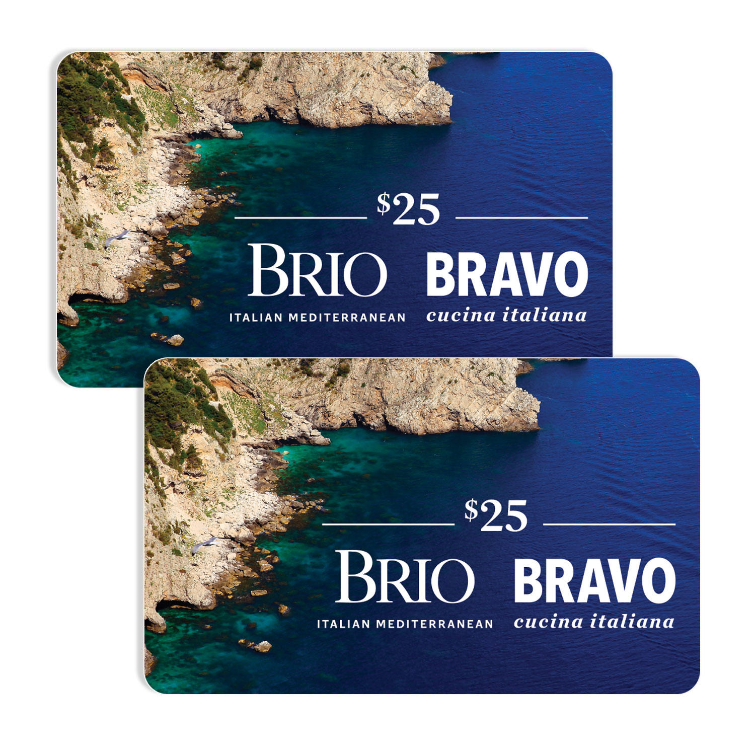 $50 (2 x $25) Bravo Brio Restaurant Group Gift Cards