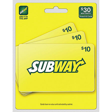 Subway $30 Value Gift Cards - 3 x $10