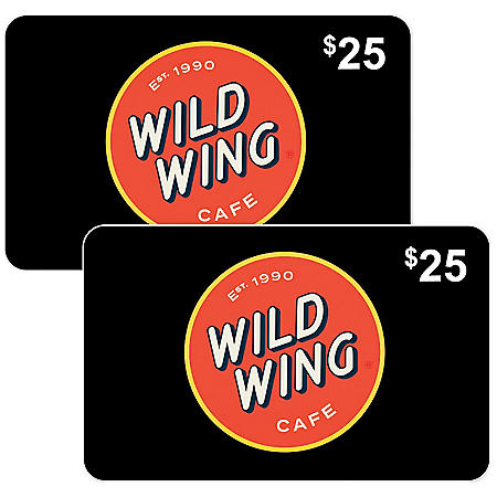 Wild Wing Café $50 Value Gift Cards - 2 x $25