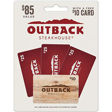 Outback Steakhouse $75 Multi-Pack - 3/$25 Gift Cards with a $10 Free Card