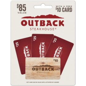 Outback Steakhouse $85 Value Gift Cards - 3 x $25 Gift Cards with a Bonus $10 Card