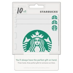 Starbucks $30 Value Gift Cards - 3 x $10 Gift Cards