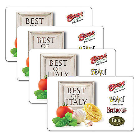 Best Of Italy $100 Value Gift Cards - 4 X $25