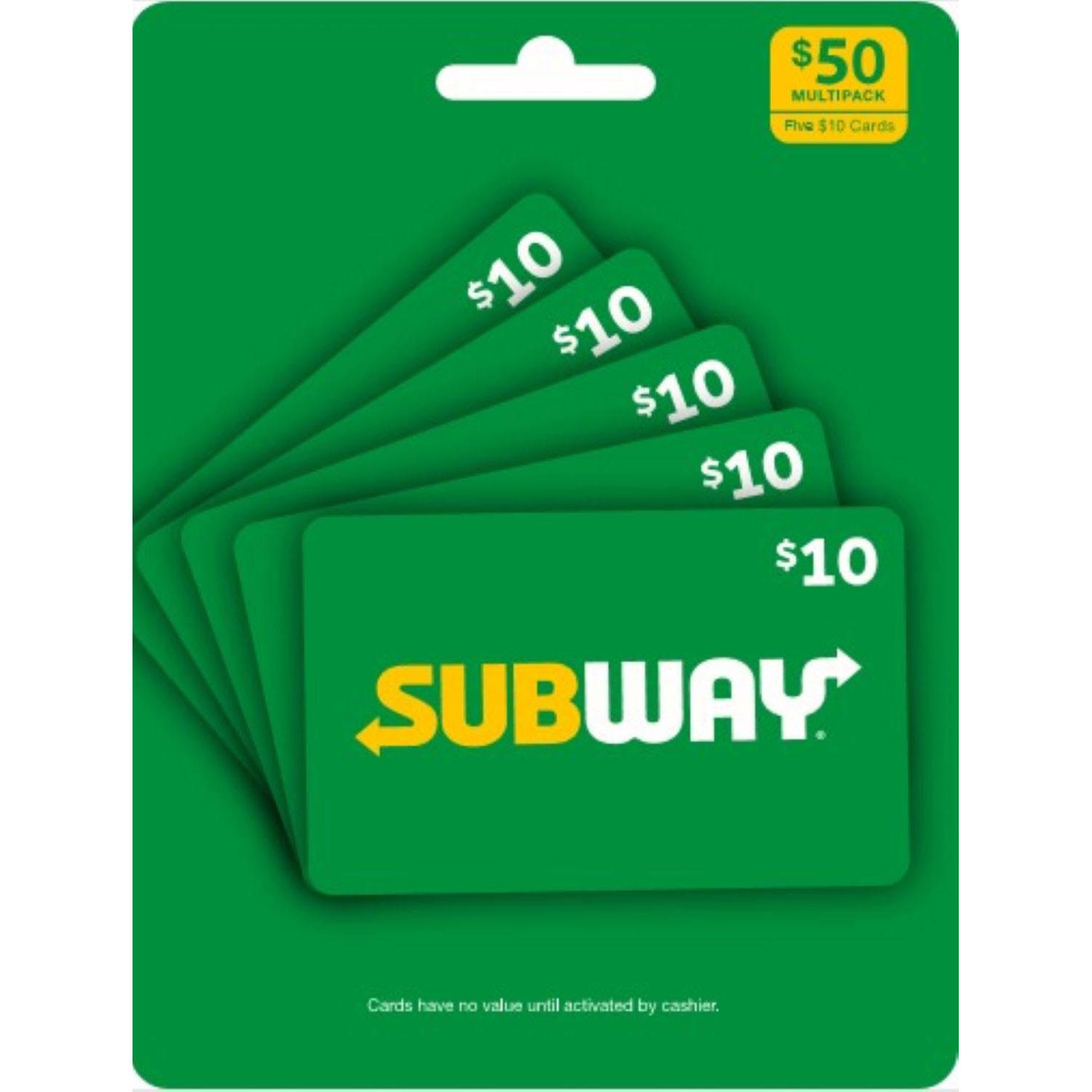 $50 (5 x $10) Subway Value Gift Cards