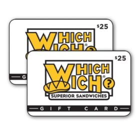 Which Wich Superior Sandwiches $50 Value Gift Cards - 2 x $25