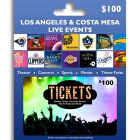 Tickets Card LA & Costa Mesa Live Events $100 Value