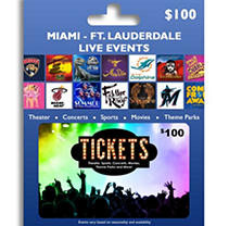 Tickets Card Miami & Ft. Lauderdale Live Events $100 Value