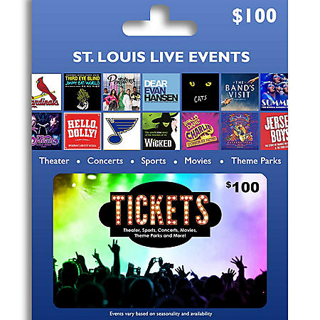 Tickets Card St. Louis Live Events $100 Value