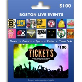 Tickets Card Boston Live Events $100 Value