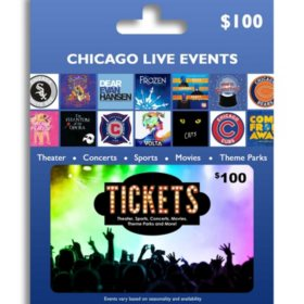 Tickets Card Chicago Live Events $100 Value