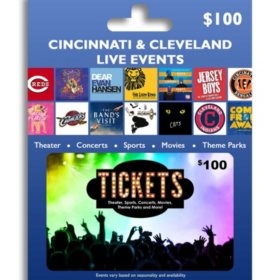Tickets Card Cincinnati & Cleveland Live Events $100 Value