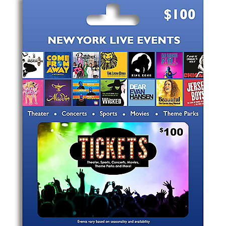 Tickets Card New York Live Entertainment $100 Value