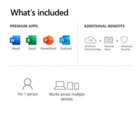 Microsoft 365 Personal 12 Month Subscription 1 Person Premium Office Apps 1tb Onedrive Cloud Storage Pc Mac Keycard Sam S Club