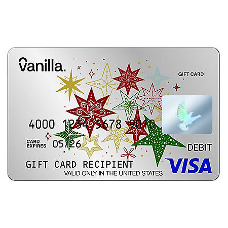 Silver Stars Ornament Vanilla eGift Visa® Virtual Account -  Various Amounts (Email Delivery)