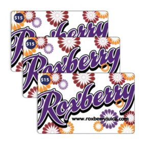 Roxberry Juice Company $45 Value Gift Cards - 3 x $15