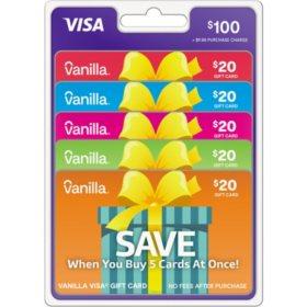 Vanilla? Visa? Gift Card $100 Value Gift Cards – 5 x $20