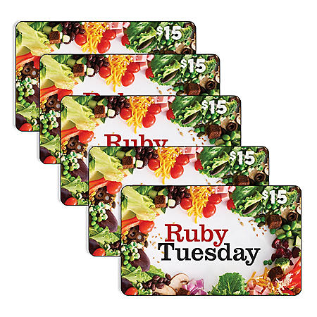 Ruby Tuesday 5 x $15 Gift Cards