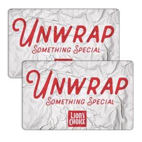 Lion's Choice / LC Restaurants,LLC  $50 Value Gift Cards - 2 x $25