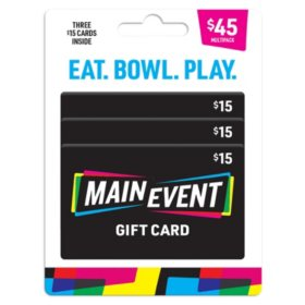 Main Event $45 Value Gift Cards - 3 x $15