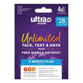 Ultra Mobile 3-Month Plan - 6GB per Month (Email Delivery)